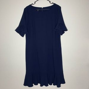 Talbots Navy Blue Career Style Dress w/ Ruffle Hem